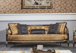Casa Padrino Luxury Baroque Chesterfield Sofa Gold / Black 231 x 94 x H. 83 cm - Baroque Living Room Furniture