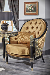 Casa Padrino Luxury Baroque Chesterfield Armchair Gold / Black 80 x 91 x H. 101 cm - Baroque Living Room Furniture