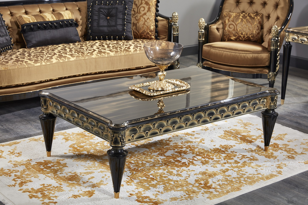 Casa Padrino Luxus Barock Couchtisch Schwarz Gold 140 X 90 X H 45 Cm Wohnzimmertisch Im Barockstil