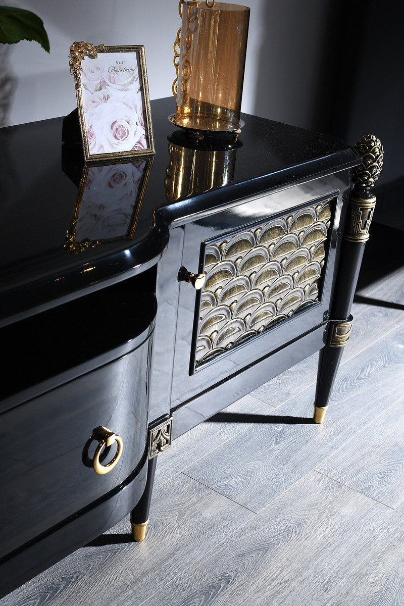 Casa Padrino Luxury Baroque Tv Cabinet Black Gold 226 X 59 X H