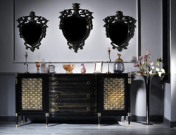 Casa Padrino Luxury Baroque Living Room Set Black / Gold - Chest of Drawers and 3 Wall Mirrors - Baroque Furniture