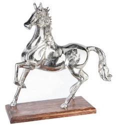 Casa Padrino Luxury Sculpture Horse Antique Silver / Brown 40 x 16 x H. 41 cm - Elegant Aluminum Decoration Figure with Wooden Base