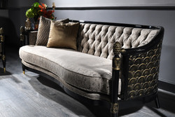 Casa Padrino Luxury Baroque Chesterfield Sofa Silver Gray / Black / Gold 231 x 94 x H. 83 cm - Baroque Living Room Furniture