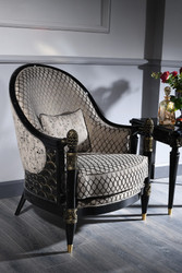 Casa Padrino Luxury Baroque Armchair Silver Gray / Black / Gold 80 x 91 x H. 101 cm - Baroque Living Room Furniture
