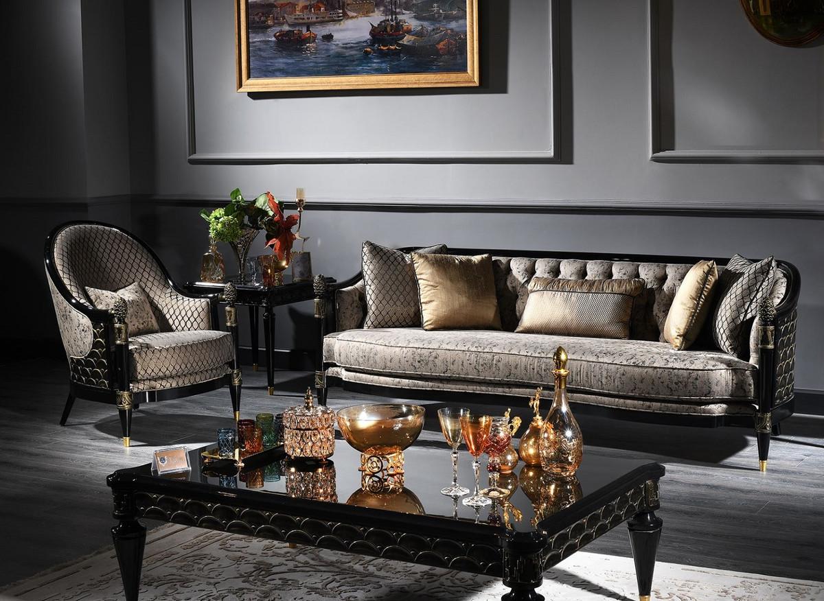 Casa Padrino Luxus Barock Wohnzimmer Set Silbergrau ...