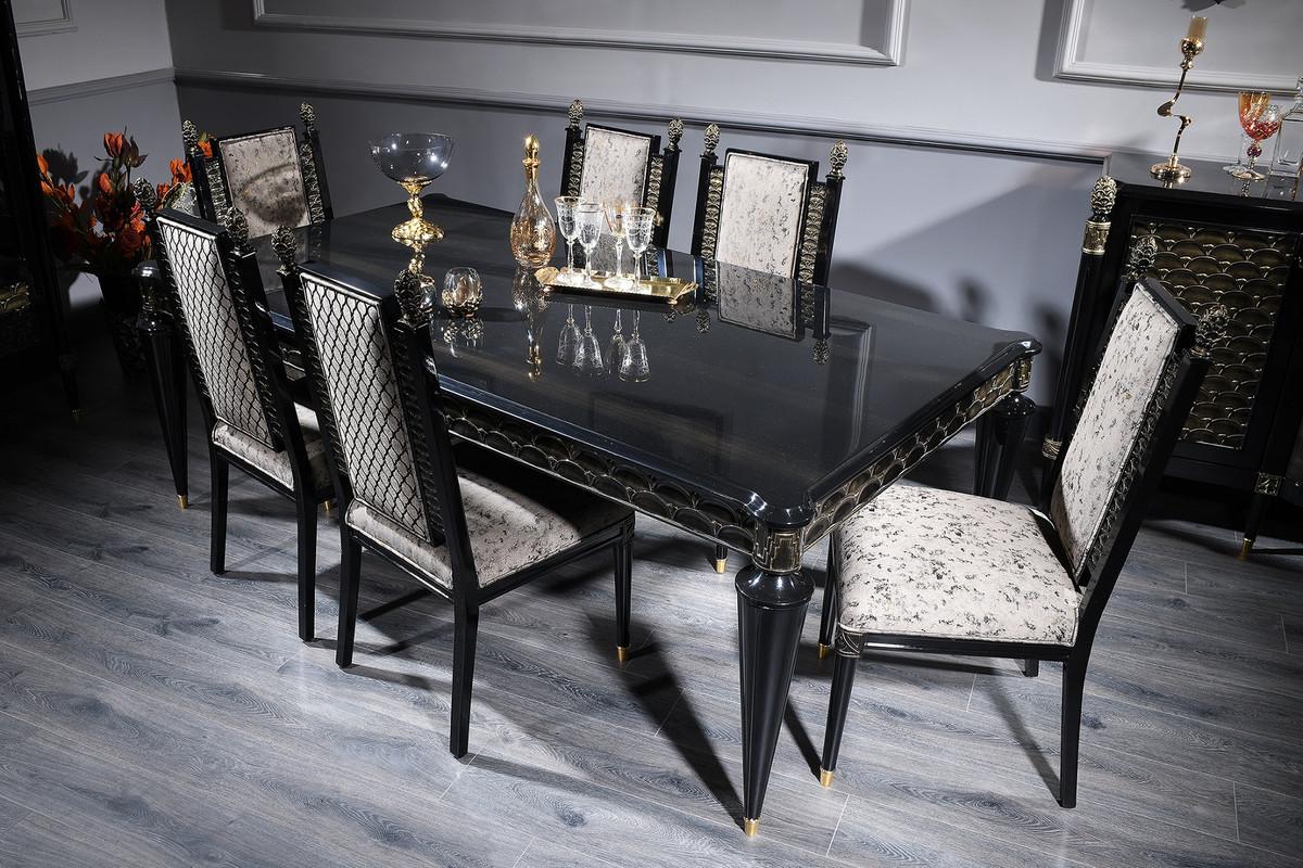 Casa Padrino conjunto de comedor barroco de lujo plata gris / negro / oro -  1 Mesa de Comedor y 6 Sillas de Comedor - Muebles de Comedor en Estilo ...