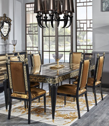 Casa Padrino Luxury Baroque Dining Set Gold / Black - 1 Dining Table and 6 Dining Chairs - Dining Room Furniture in Baroque Style