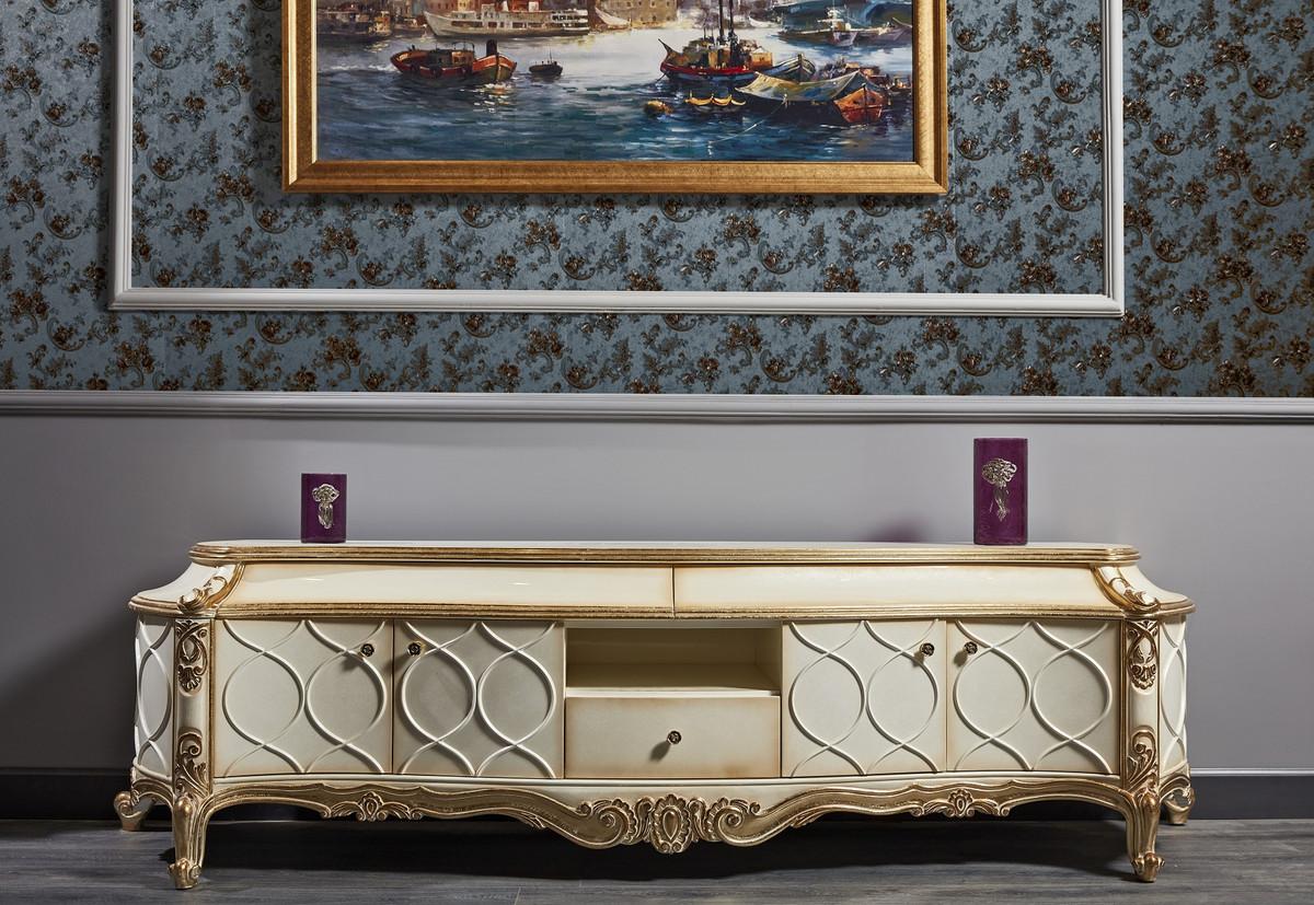 Casa Padrino Luxus Barock Fernsehschrank Weiss Antik Gold 242 X