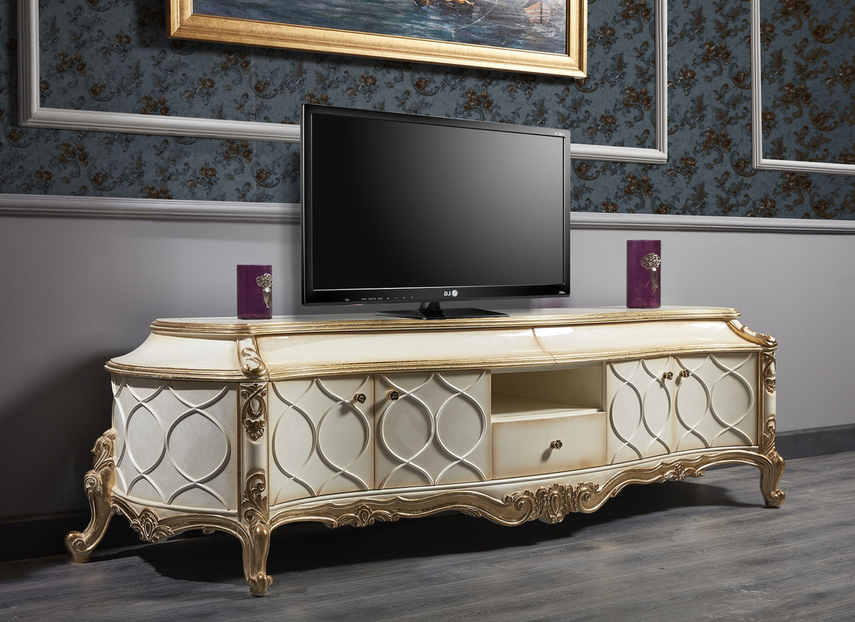 Casa Padrino Luxury Baroque Tv Cabinet White Antique Gold 242 X