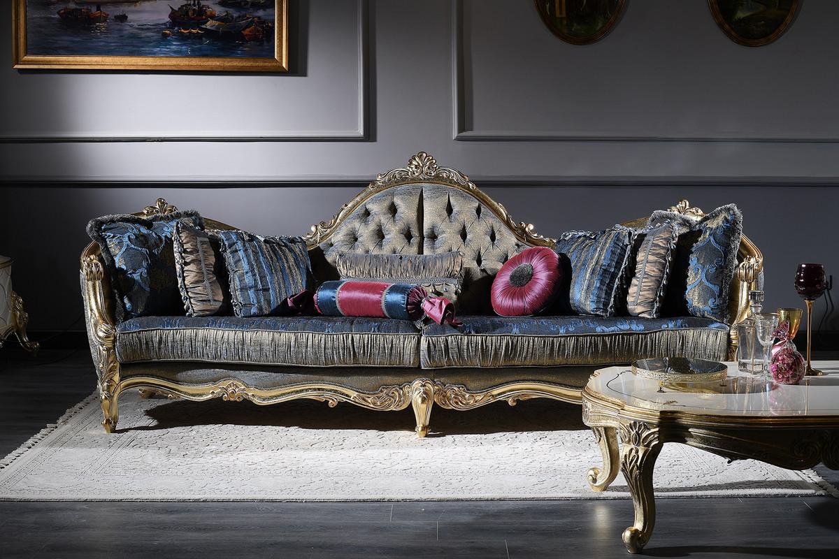 Casa Padrino Luxus Barock Chesterfield Sofa Dunkelblau Antik Gold 300 X 90 X H 119 Cm Prunkvolles Barock Wohnzimmer Sofa Barockmobel Ceres Webshop