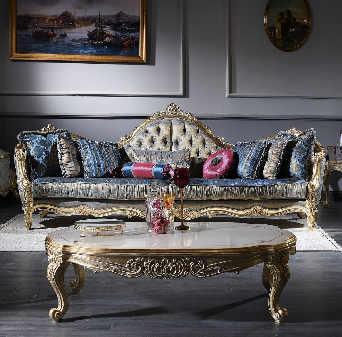 Casa Padrino Luxury Baroque Living Room Set - 16 Chesterfield Sofa