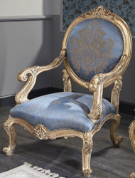 Casa Padrino Luxury Baroque Salon Chair Light Blue / Antique Gold 65 x 85 x H. 120 cm - Baroque Furniture