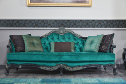 Casa Padrino Luxury Baroque Chesterfield Sofa Green / Black / Gold 240 x 88 x H. 105 cm - Living Room Furniture in Baroque Style