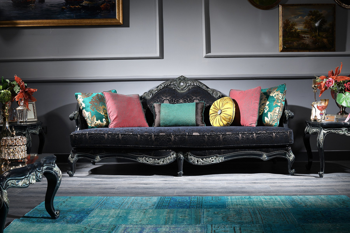 Casa Padrino Luxury Baroque Sofa Black Green Gold 240 X 88 X H 105 Cm Living Room Furniture In Baroque Style