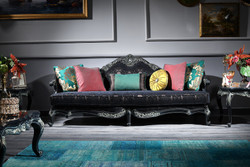 Casa Padrino Luxury Baroque Sofa Black / Green / Gold 240 x 88 x H. 105 cm - Living Room Furniture in Baroque Style