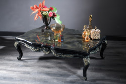 Casa Padrino Luxury Baroque Living Room Table Black / Green / Gold 138 x 95 x H. 45 cm - Baroque Coffee Table