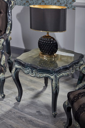 Casa Padrino Luxury Baroque Side Table Black / Green / Gold 65 x 65 x H. 55 cm - Baroque Furniture