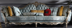 Casa Padrino Luxury Baroque Sofa Turquoise / Silver / Gold 310 x 99 x H. 113 cm - Sumptuous Chesterfield Living Room Sofa in Baroque Style