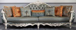 Casa Padrino Luxury Baroque Sofa Dark Turquoise / Gold / Silver 310 x 99 x H. 113 cm - Sumptuous Chesterfield Living Room Sofa in Baroque Style