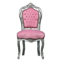 Casa Padrino Baroque Dining Chair Pink/Silver