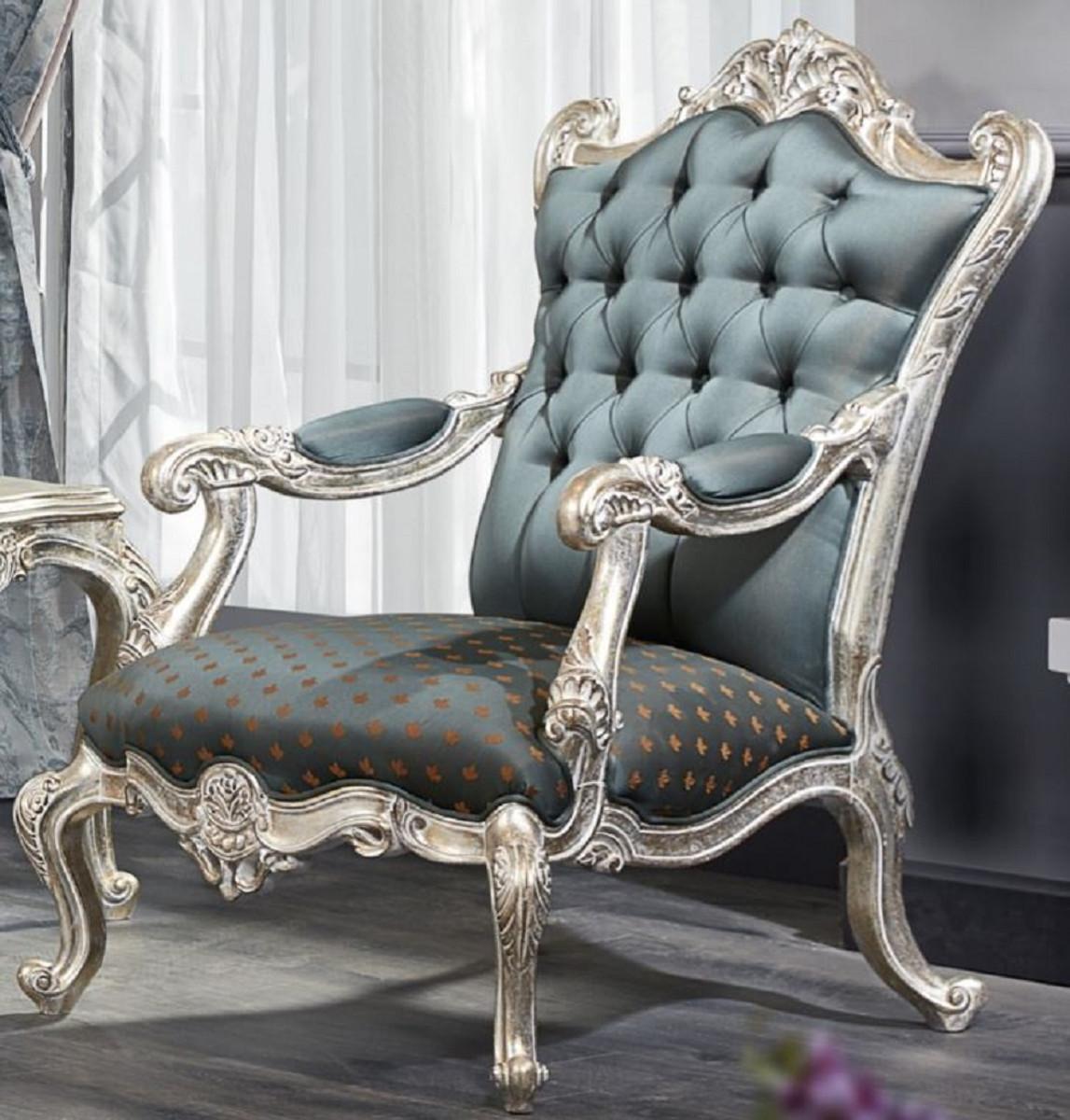 Casa Padrino Luxury Baroque Chesterfield Throne Armchair
