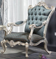 Casa Padrino Luxury Baroque Chesterfield Throne Armchair Turquoise / Dark Turquoise / Gold / Silver 87 x 83 x H. 110 cm - Baroque Furniture