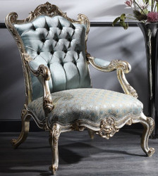 Casa Padrino Luxury Baroque Chesterfield Throne Armchair Turquoise / Gold / Silver 87 x 83 x H. 110 cm - Baroque Furniture