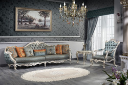 Casa Padrino Luxury Baroque Living Room Set - 1 Chesterfield Sofa & 1 Chesterfield Throne Armchair & 1 Side Table - Baroque Living Room Furniture
