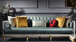 Casa Padrino Luxury Baroque Sofa Dark Turquoise / White / Gold 256 x 89 x H. 90 cm - Sumptuous Chesterfield Living Room Sofa in Baroque Style
