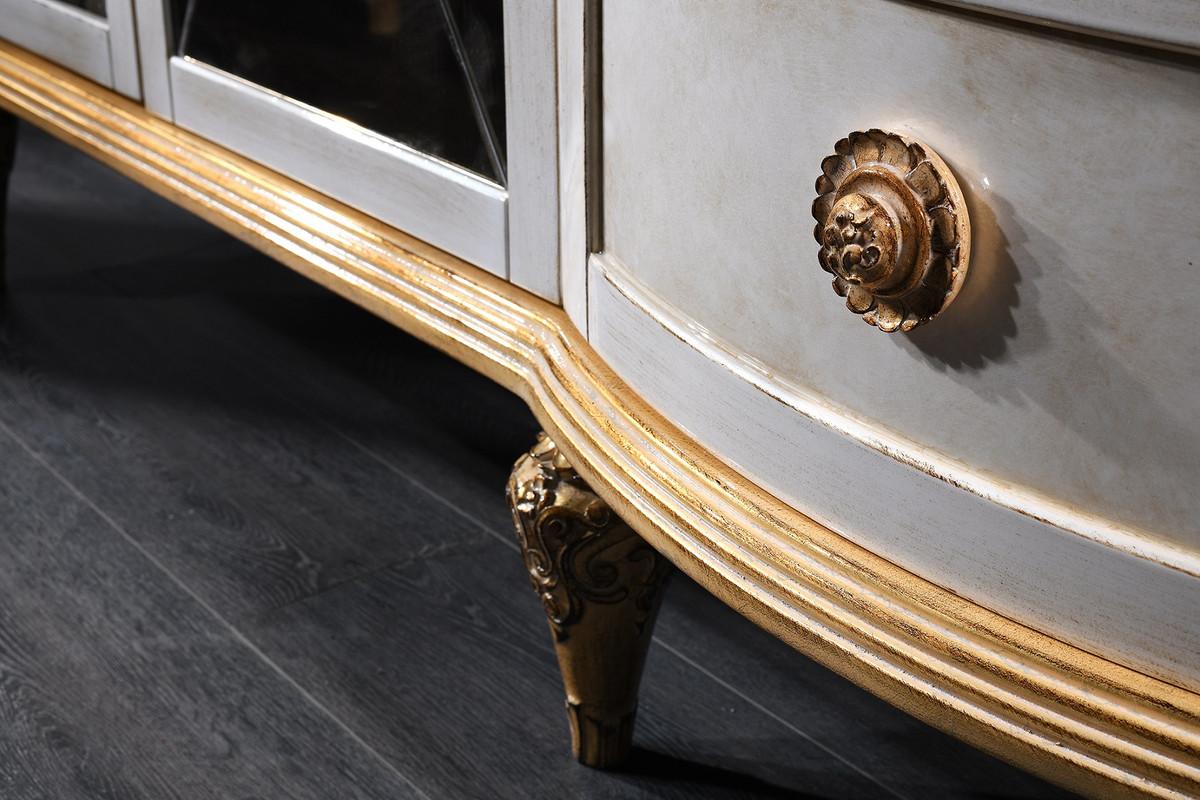 Casa Padrino Luxus Barock Fernsehschrank Weiß / Gold 241 x 43 x H. 67 cm - Barock Wohnzimmerschrank mit 4 Türen und Schublade 2