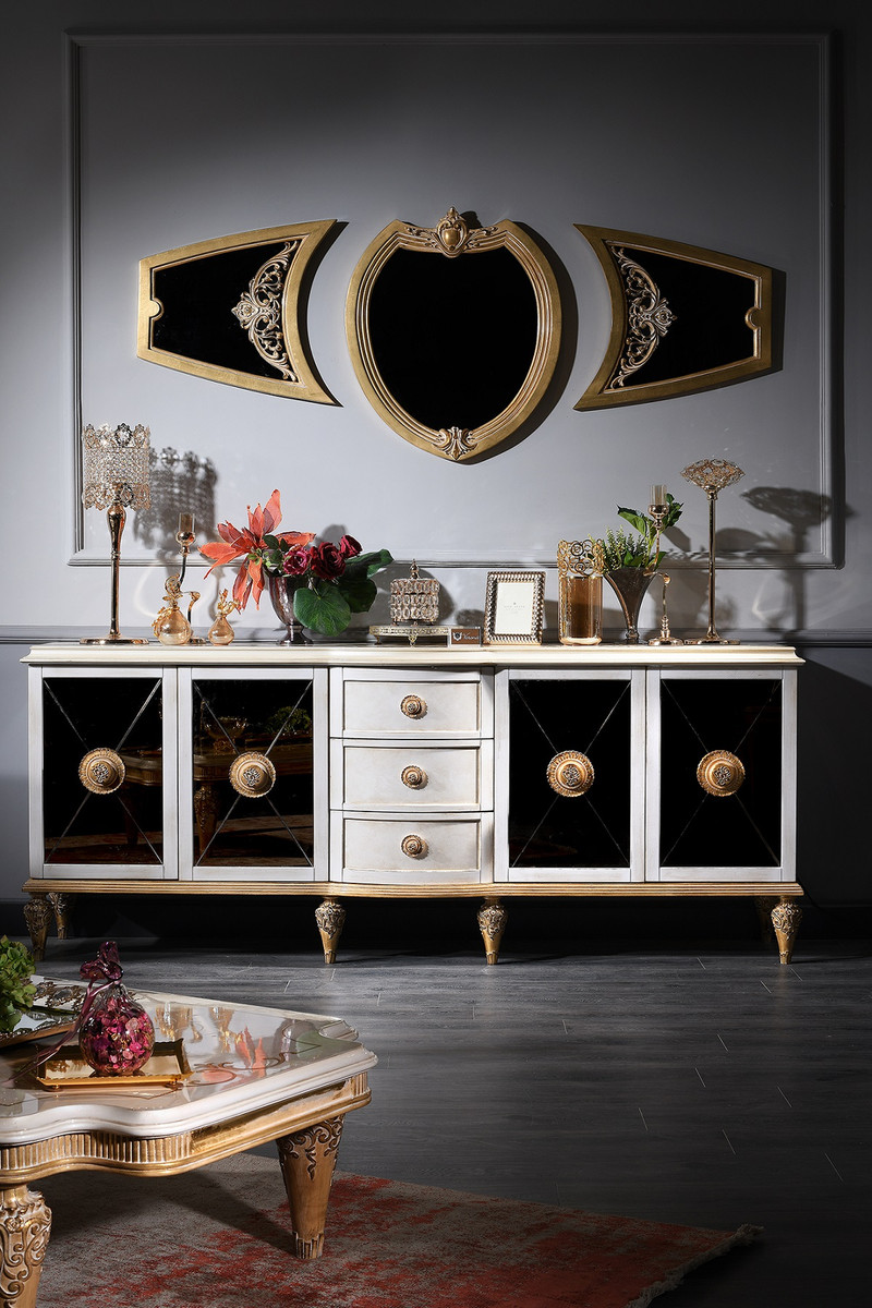 Casa Padrino Luxus Barock Wohnzimmer Set Weiss Gold