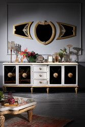 Casa Padrino Luxury Baroque Living Room Set White / Gold - Baroque chest of drawers and 3 wall mirrors - Baroque furniture