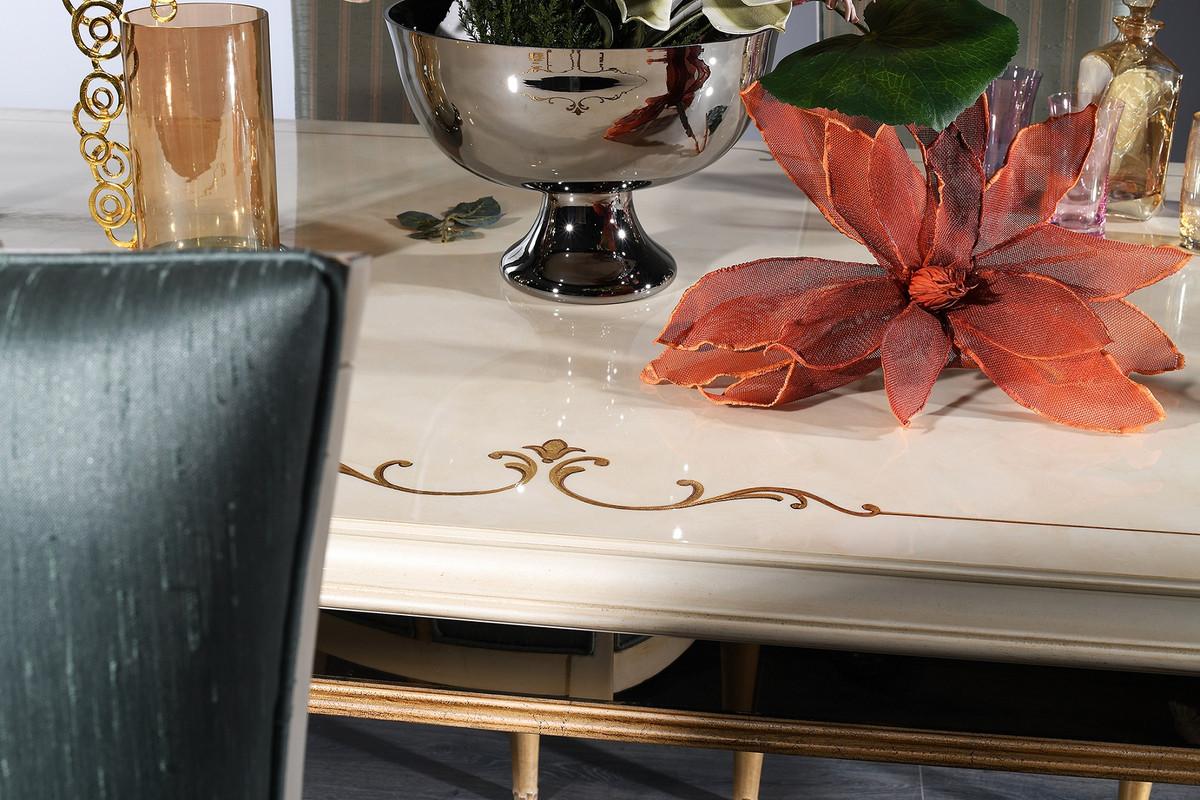 Casa Padrino conjunto de comedor barroco de lujo turquesa / blanco / oro -  1 Mesa de Comedor y 4 Sillas de Comedor - Muebles de Comedor Barrocos