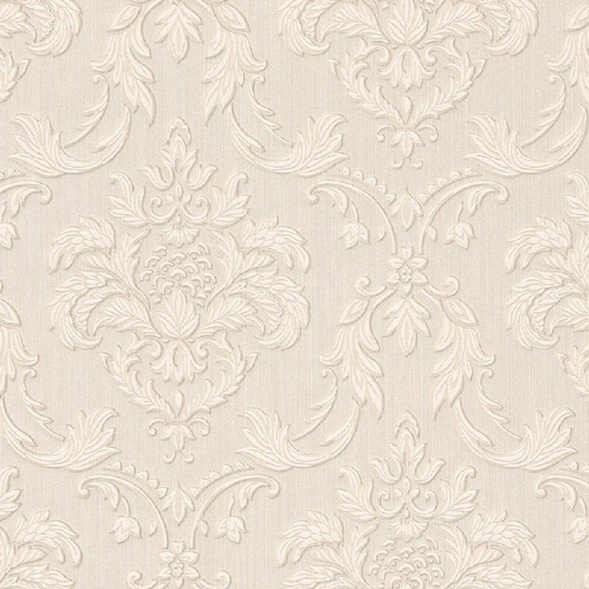 Casa Padrino Barock Textiltapete Creme / Beige / Weiß 10,05 x 0,53 m -  Wohnzimmer Tapete im Barockstil - Hochwertige Qualität