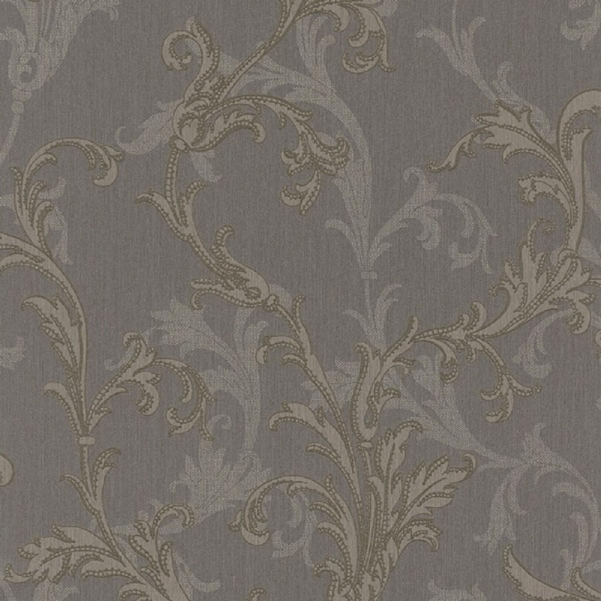 Casa Padrino Barock Textiltapete Grau / Silber / Braun 10,05 x 0,53 m -  Hochwertige Wohnzimmer Tapete im Barockstil | Ceres Webshop