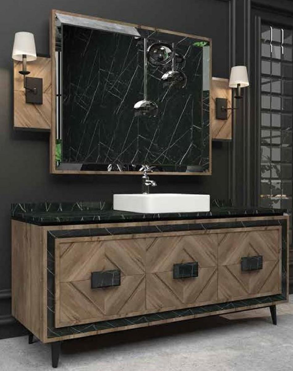 Casa Padrino Ensemble de Salle de Bain de Luxe Marron / Noir / Blanc - 1  Table de Lavage avec 3 Portes et 1 Lavabo et 1 Miroir Mural - Mobilier de  ...