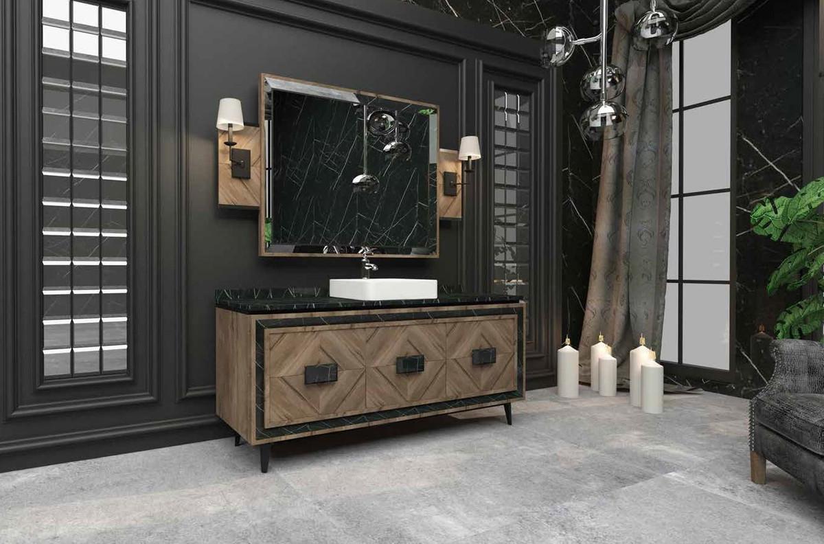 Casa Padrino Luxus Badezimmer Set Braun / Schwarz / Weiß - 1 Waschtisch mit  3 Türen und 1 Waschbecken und 1 Wandspiegel - Luxus Badezimmermöbel