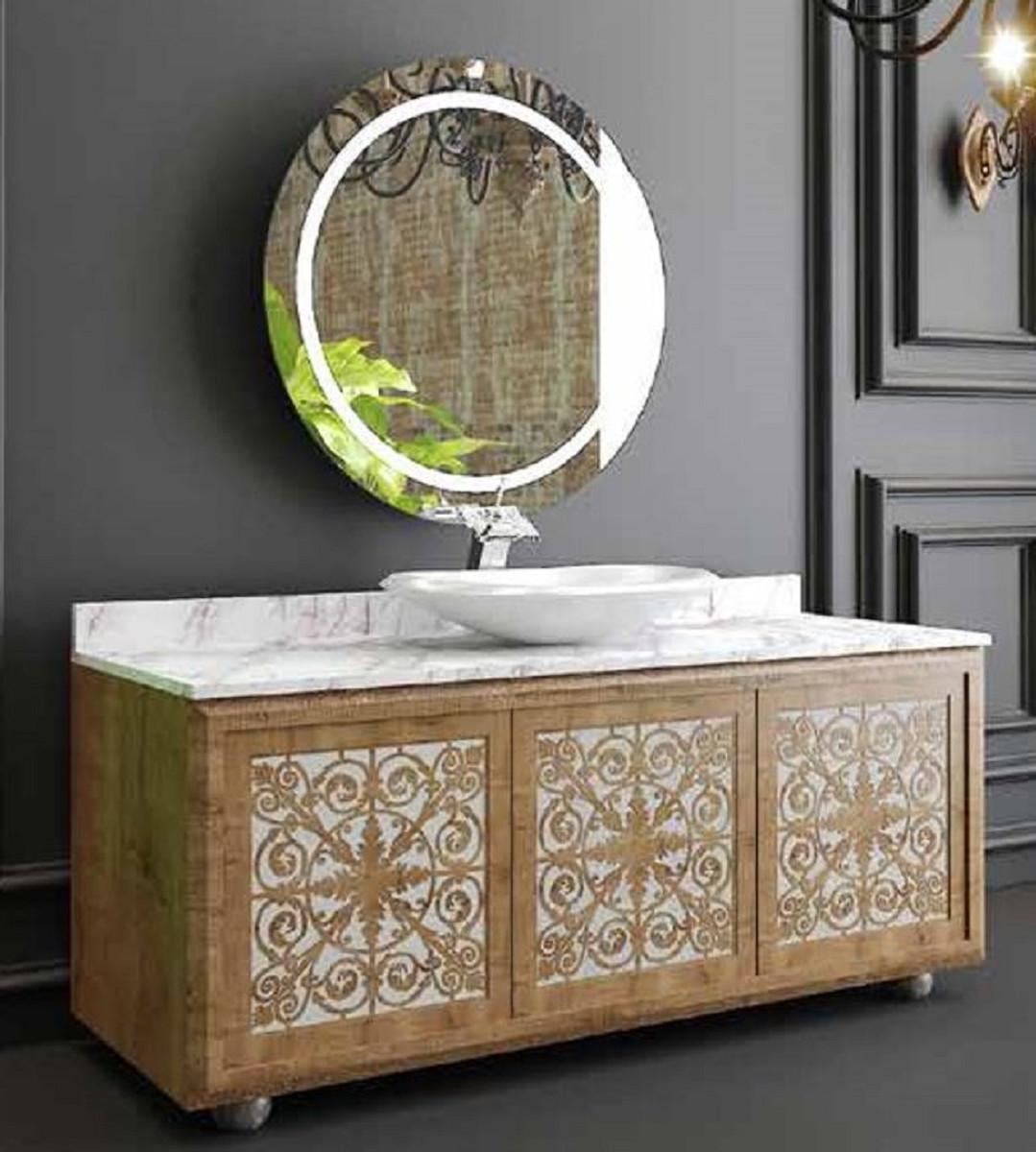 Casa Padrino Luxus Badezimmer Set Naturfarben Weiss 1 Waschtisch Mit 3 Turen Und 1 Waschbecken Und 1 Wandspiegel Badezimmermobel Luxus Qualitat