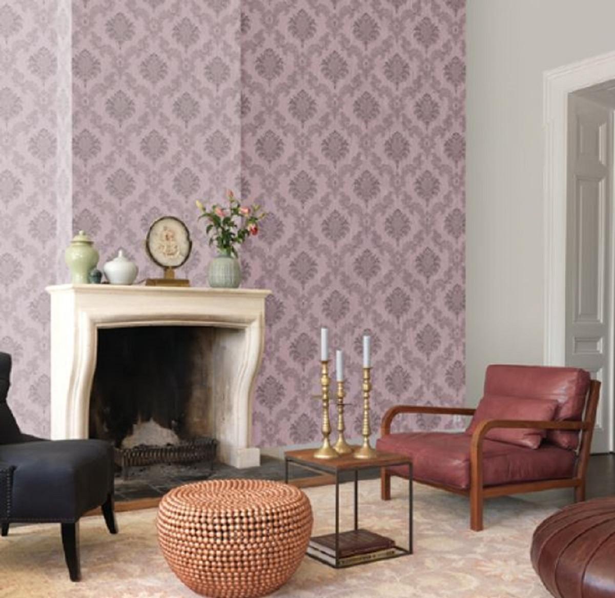 Casa Padrino Barock Textiltapete Flieder / Grau 10,05 x 0,53 m -  Hochwertige Wohnzimmer Tapete im Barockstil