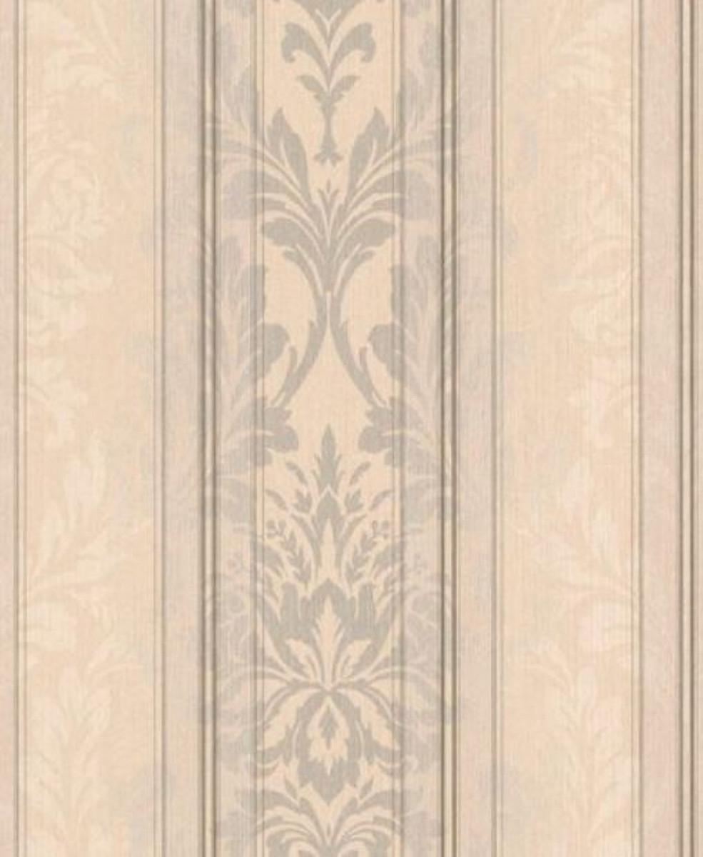 Casa Padrino Barock Textiltapete Creme / Beige / Silber / Grau 10,05 x 0,53  m - Wohnzimmer Tapete - Deko Accessoires