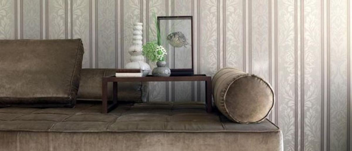 Casa Padrino papier peint en textile baroque gris clair / gris / taupe  10,05 x 0,53 m - Papier Peint de Salon - Accessoires Déco