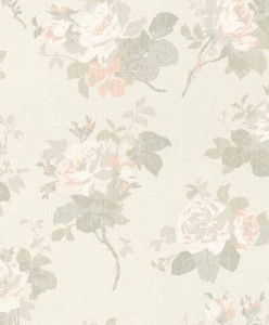 Casa Padrino Barock Textiltapete Beige / Grau / Weiß / Rosa 10,05 x 0,53 m - Tapete mit Blumenmuster
