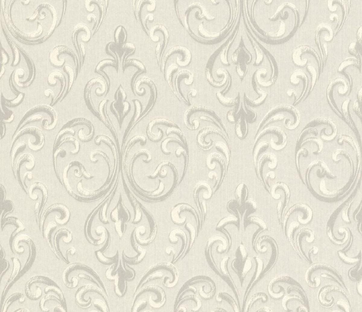 Casa Padrino Barock Textiltapete Creme / Grau / Weiß 10,05 x 0,53 m -  Hochwertige Wohnzimmer Tapete