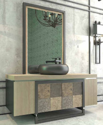 Casa Padrino Luxury Bathroom Set Natural / Multicolor / Black - 1 Vanity Unit with 4 Doors and 1 Sink and 1 Wall Mirror - Luxury Quality