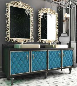 Casa Padrino Ensemble de Salle de Bain Baroque de Luxe Noir / Bleu / Or - 1  Table de Lavage avec 4 Portes et 2 Lavabos et 2 Miroirs Mural - Mobilier ...