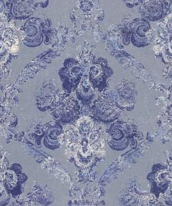 Casa Padrino Barock Textiltapete Silber / Blau 10,05 x 0,53 m - Wohnzimmer Deko Accessoires