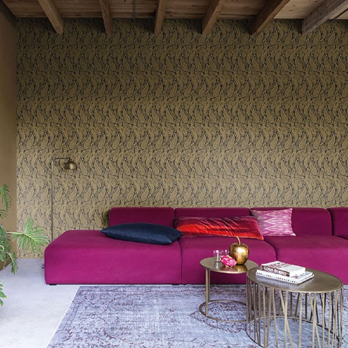 Casa Padrino Barock Wohnzimmer Tapete Grau / Gold 10,05 x 0,53 m -  Hochwertige Textiltapete