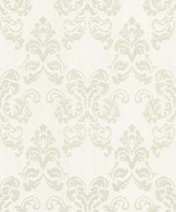 Casa Padrino baroque textile wallpaper cream / silver 10.05 x 0.53 m - Decoration Accessories in Baroque Style