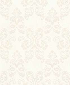 Casa Padrino baroque textile wallpaper white / silver 10.05 x 0.53 m - Decoration Accessories in Baroque Style