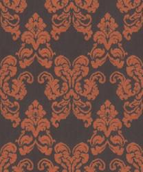 Casa Padrino Barock Textiltapete Schwarz / Terracotta 10,05 x 0,53 m - Deko Accessoires im Barockstil